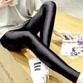 Gloss pants legging female thin ankle length trousers socks plus size black skinny pants