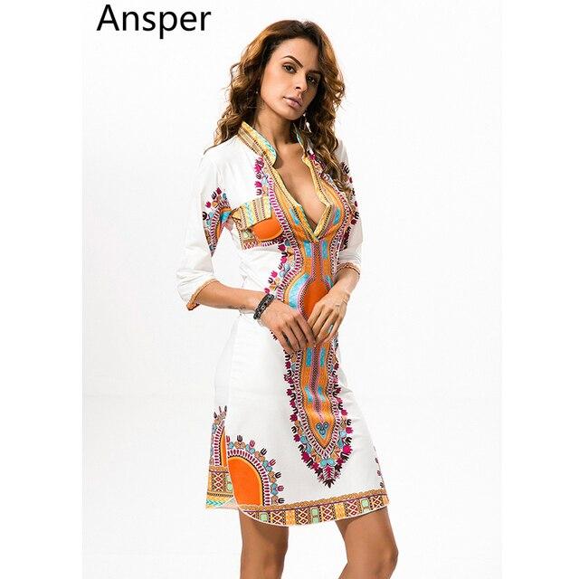 1752c8aa1 Africano Dashiki Vestido Moda Roupas Femininas Mais Novo Branco Succunct  Africano Tradicional de Impressão V Neck
