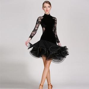 Image 2 - Rot spitze latin dance kleid fringe frauen latin kleid tanzen kleidung Dancewear latina salsa kleider für tanzen samba tango