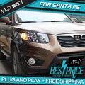 AKD Car Styling Head Lamp para SANTA FE SANTA FE Faros LED luz DE CARRETERA Del Faro DRL Lente Del Bi-Xenón HID Accesorios Para automóviles