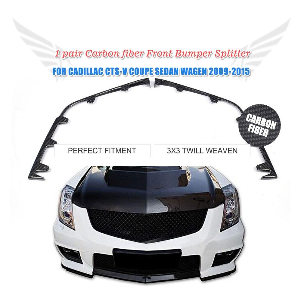 2PC/Set Front Bumper Splitters Flap Cupwings Apron Lip Carbon Fiber For Cadillac CTS-V Coupe Sedan 2009-2015