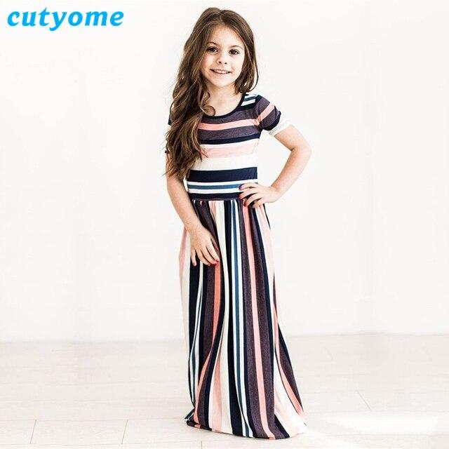 88eb4448677ce Cutyome Baby Girls Maxi Dresses 2018 Summer Short Sleeve Striped Dress Kids  Beachwear Long Dresses 1-10 Yrs Children Clothing
