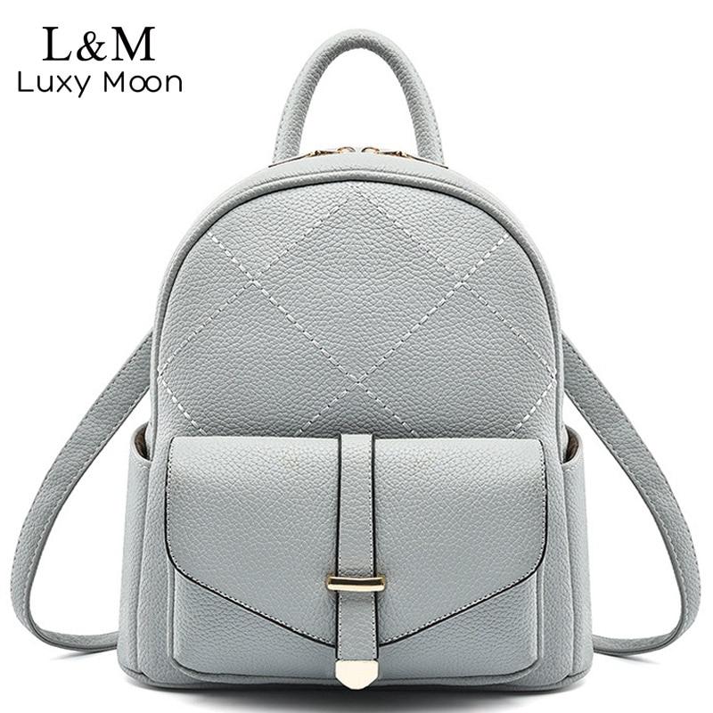 LUXY MOON Women Backpack Simple Style High Quality PU Leather Backpacks Teenage Girls Bag PU Leather