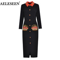 AELESEEN 2019 Women's Spring Runway Dress Wirst Sleeve Embroidery Button Beading Pearls Long Dress Contrast Color Black Dress