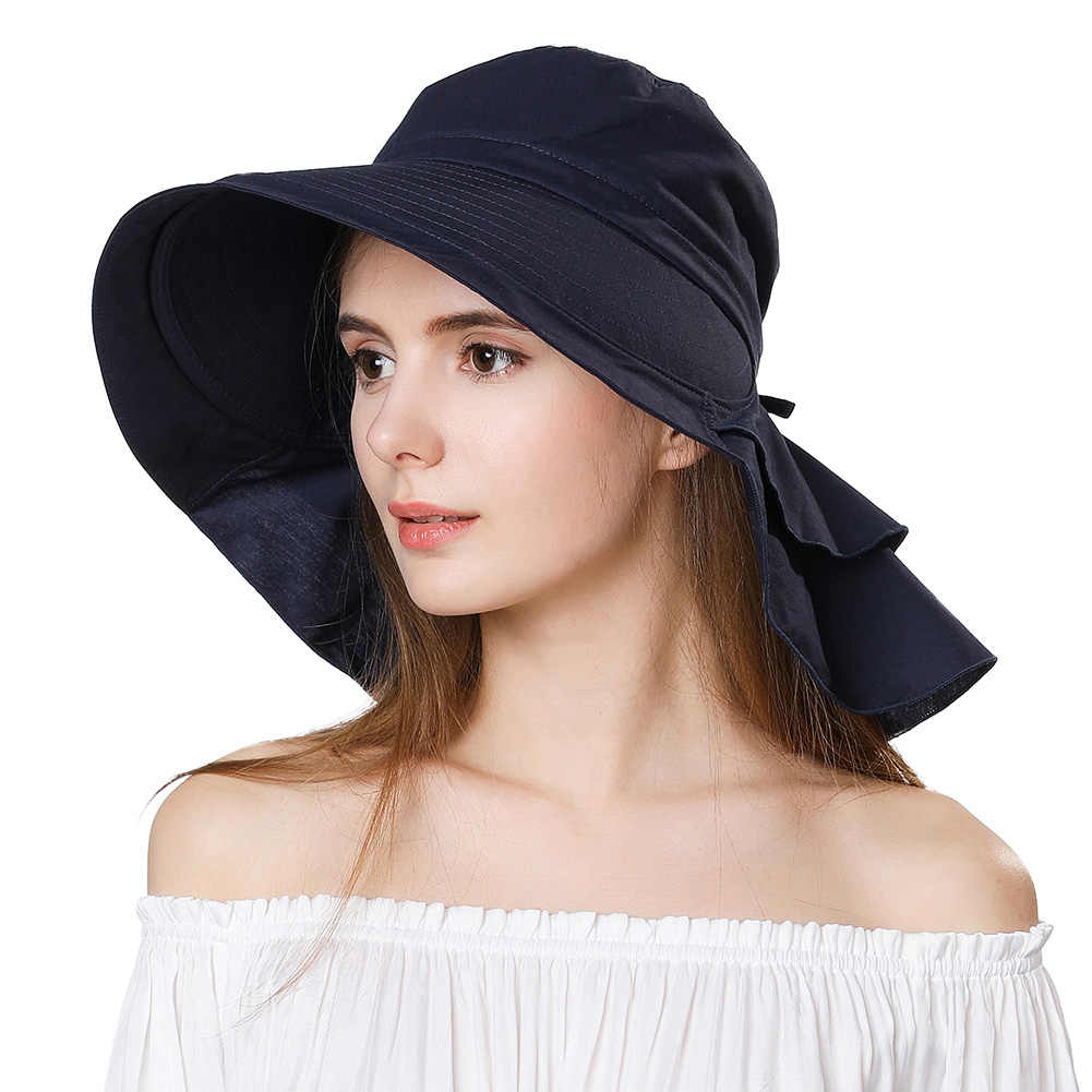 573199b88753d FANCET Womens Summer Beach Sun Hats UPF50+ UV Cotton Ponytail Foldable  String Chin Cord Wide Brim