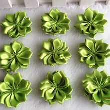 30pcs 35mm Green Double Ribbon Flowers Handmade Apparel Accessories Sewing Appliques DIY Crafts A648