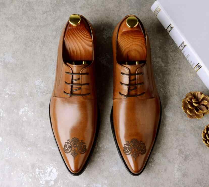 78aaef806f4a45 JOZIGBEMA Brand Italian mens formal shoes genuine leather comfortable high  quality wedding shoes male
