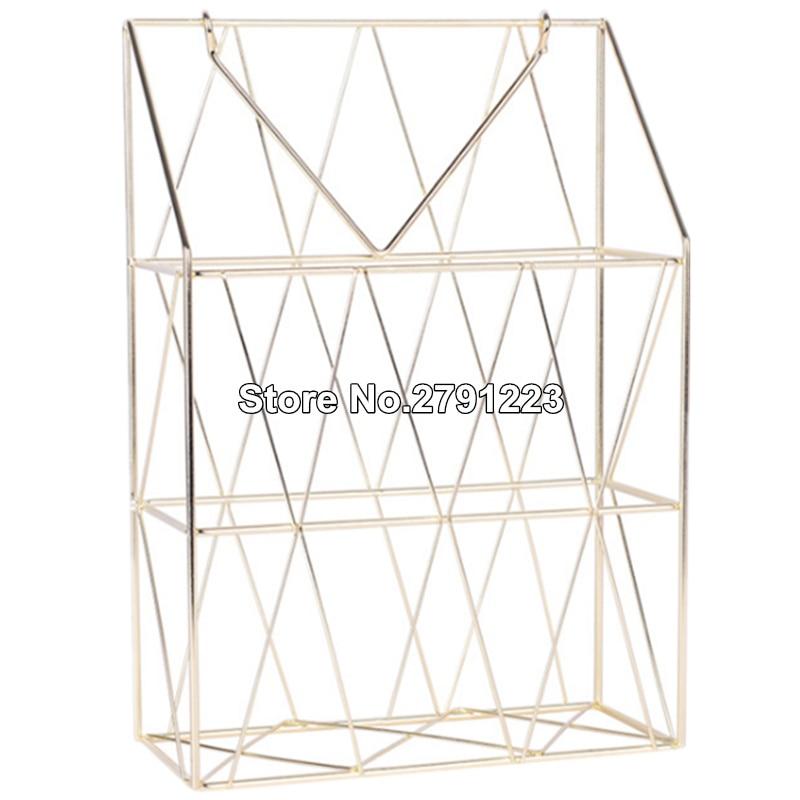 Металлическая корзина для хранения, модный настенный стеллаж для хранения в скандинавском стиле, железный стол, журнал, газета, органайзер, настенный держатель для украшения - Цвет: Золото