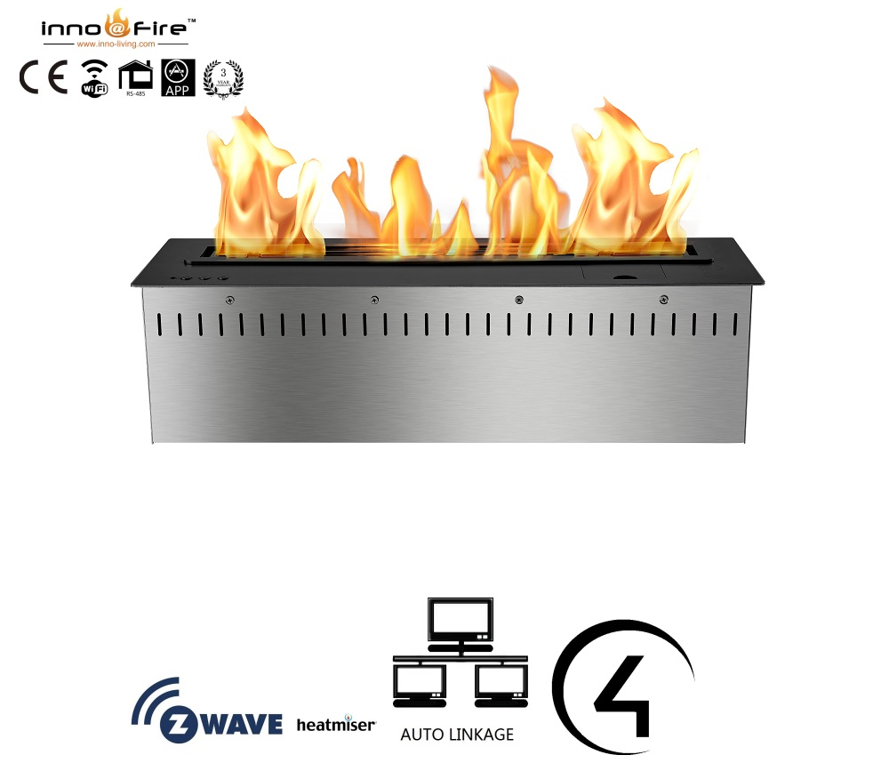 On Sale 36 Inch Indoor Auto Wifi Smart Black Or Silver Intelligent Bio Ethanol Fire Fireplace