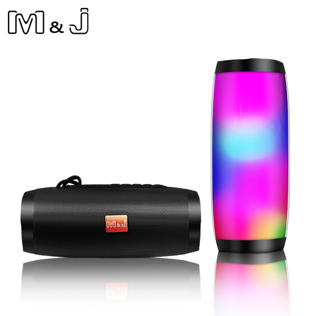 M & J 다채로운 LED 조명 블루투스 스피커 HIFI 스테레오 무선 휴대용 마이크 핸즈프리 지원 TF FM USB 플래시 Subwoffer