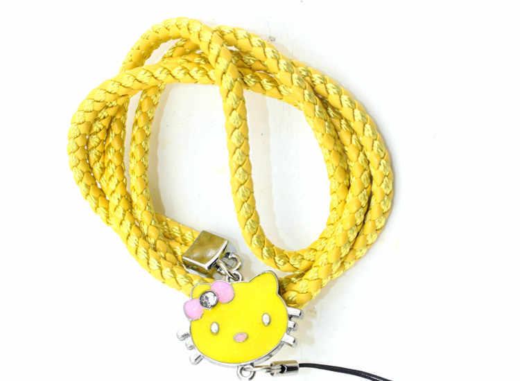 46 cm Olá Kitty Charme Tecer Couro PU Estilingue Pendurado Corda Celular Chave Da Cadeia de Cartões Cintas Da Câmera Acessórios