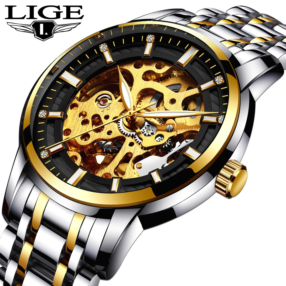 LIGE Mens Watches Top Brand Luxury Men's Automatic Mechanical Watch Men Fashion Business Stainless Steel Watch Relogio Masculino men watch top luxury brand lige men s mechanical watches business fashion casual waterproof stainless steel military male clock