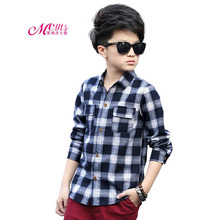 Shirts For Boys Long Sleeve Turn-Down Collar Kids Clothes Cotton Lattice Shirts Spring Autumn Boys Clothing 5 7 9 11 13 15 Years girls plaid blouse 2019 spring autumn turn down collar teenager shirts cotton shirts casual clothes child kids long sleeve 4 13t