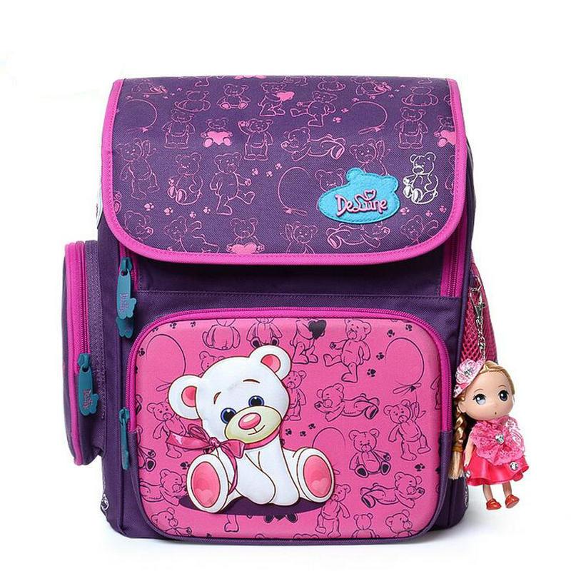 Российская марка delune детский школьный девушки рюкзак студент 1-3 Класс осветления дышащая Медведь Бабочка Мягкая школьный