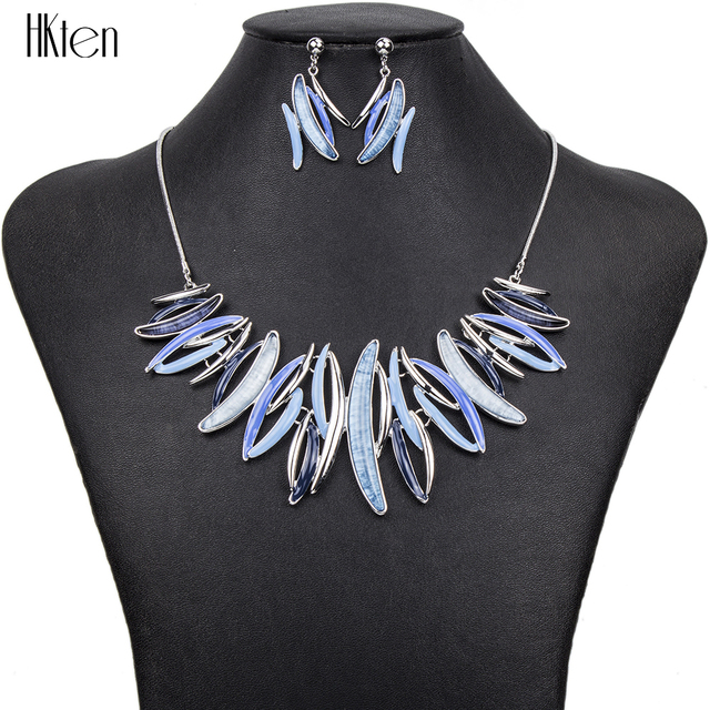 MS1504385 Fashion Jewelry Sets Hight Quality 4Colors Necklace Sets For Women Jewelry Silver Plate Resin Unique SparkDesign Gifts