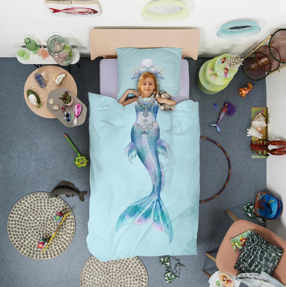 100% Cotton Beautiful Girls Princess Blue Mermaid / Pink Dress Bedding Set 3/4pcs Single Queen Size Duvet Cover Crown Pillowcase