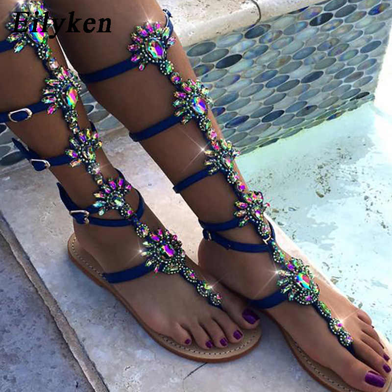 aeeedaf06c8f61 Eilyken 2019 New Summer Flats Sandal Gladiator Gold Blue Crystal Knee High  Buckle Strap Woman Boots