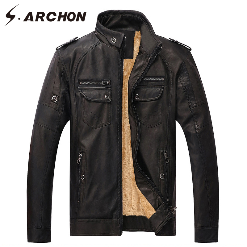 S ARCHON Autumn Winter Warm Military PU Leather Jacket Men Windbreaker Tactical Biker Motorcycle Jacket Coat Faux Leather Jacket in Jackets from Men 39 s Clothing