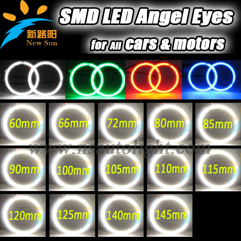 Auto Halo Ring 3014 SMD Headlight 60 65 72 80 85 90 <font><b>100</b></font> 105 <font><b>110</b></font> 115 120 125 140 145 mm Car Angel Eyes Kit Led Motor car Eyes image