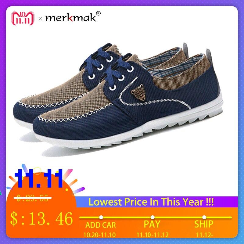 Merkmak verano hombres zapatos tendencia zapatos de lona hombres zapatos casuales hombres bajo tablero Outwear pisos transpirables zapatos de conducción tamaño grande 48