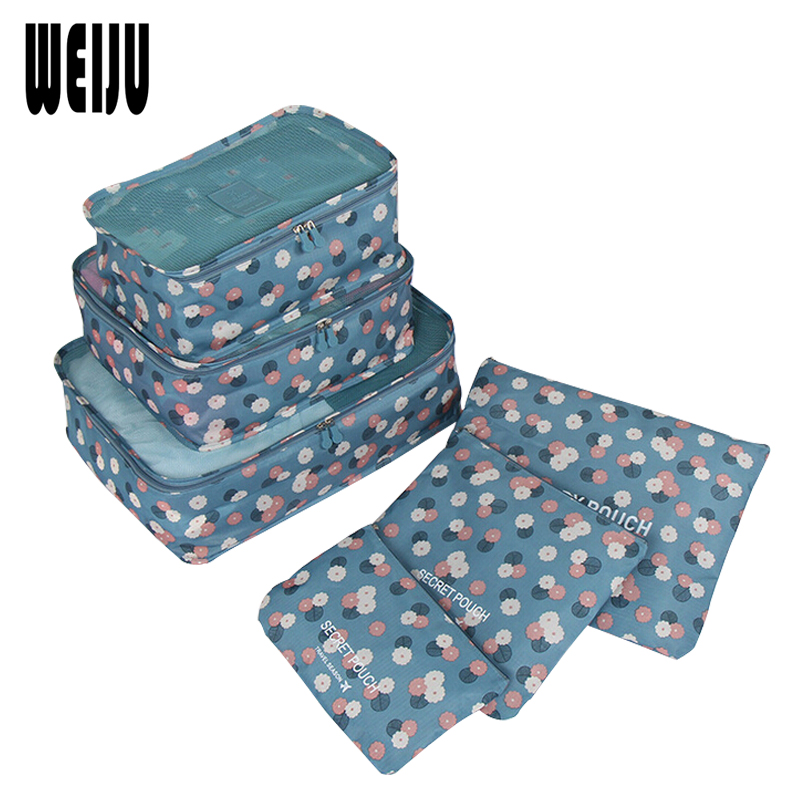 WEIJU 2017 New 6pcs/Set Cosmetic Bag Travel Clothes Organizer Tidy Luggage Pouch Zip Bags Cosmetics Wash Toiletry Bag