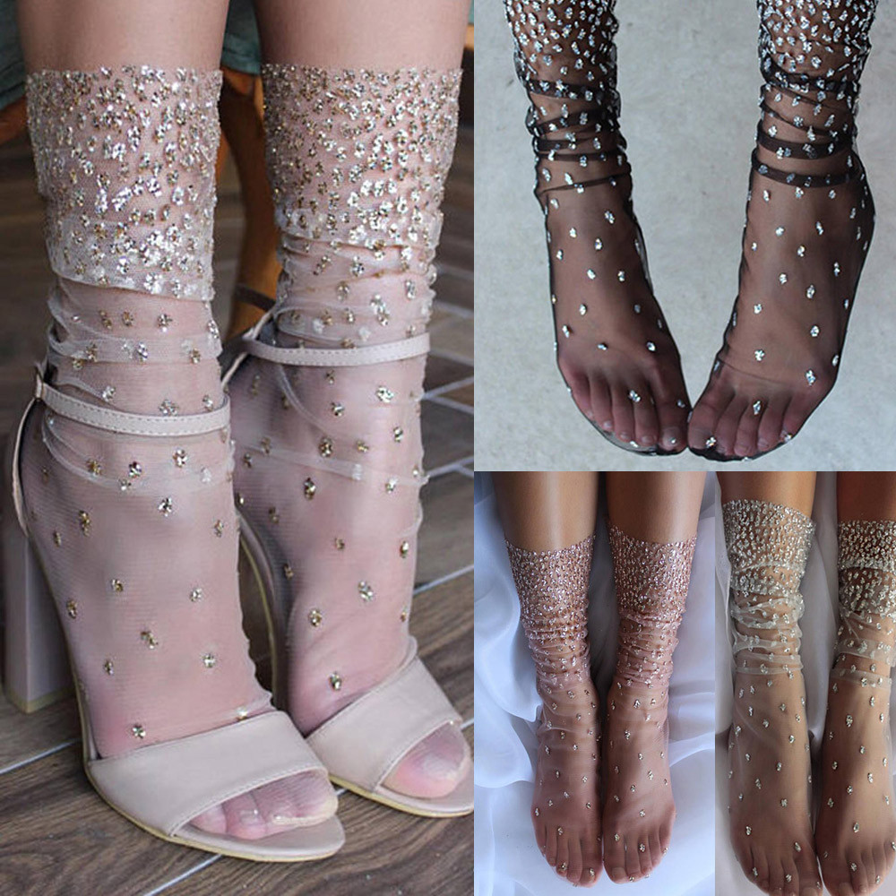 2018 New Arrvial Fashion Casual Summer 1Pair Women Net Yarn Fashion Diamonds Summer Sock Slippers Ankle Socks Hot Sale Top#