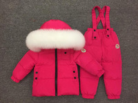 Designed for Russian babies with thick down set children's down ski jacket suit natural white big fox fur collar