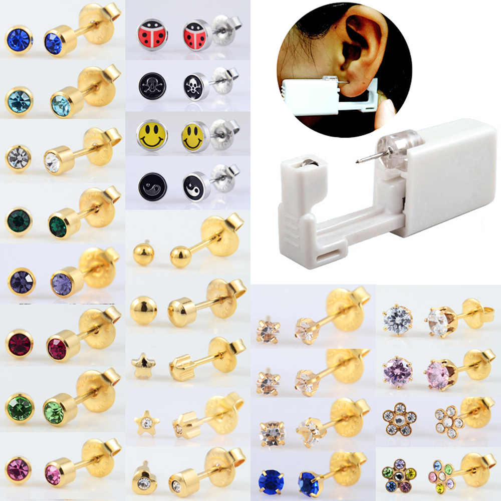 BOG-1Unit Sterlised Disposable Safety Ear Nose Piercing Device Machine Tools NO PAIN Piercer Tool Machine Kit Stud Choose Design(China)