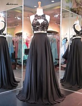 High neck Black Chiffon Long Evening Dress Vestido Longo Party Elegant Formal Gown De Novia