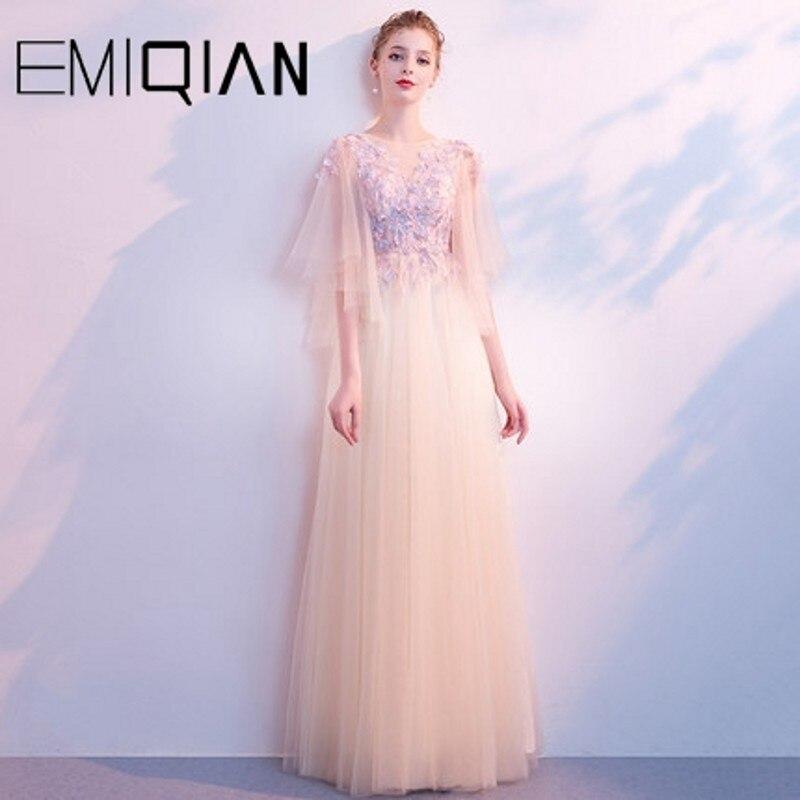 Nouveau Designer une ligne formelle robe de soirée de bal rose Tulle robes de soirée avec des fleurs Vestido de festa
