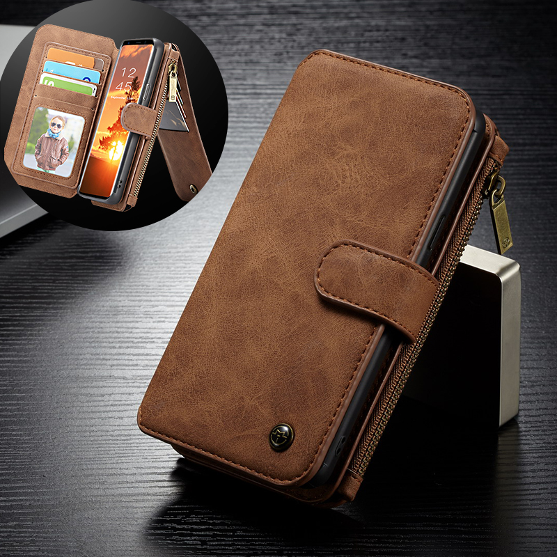 Luxury Multi-Functional Folio Zipper Purse Wallet Leather Case For Samsung Galaxy S9 / S9 Plus
