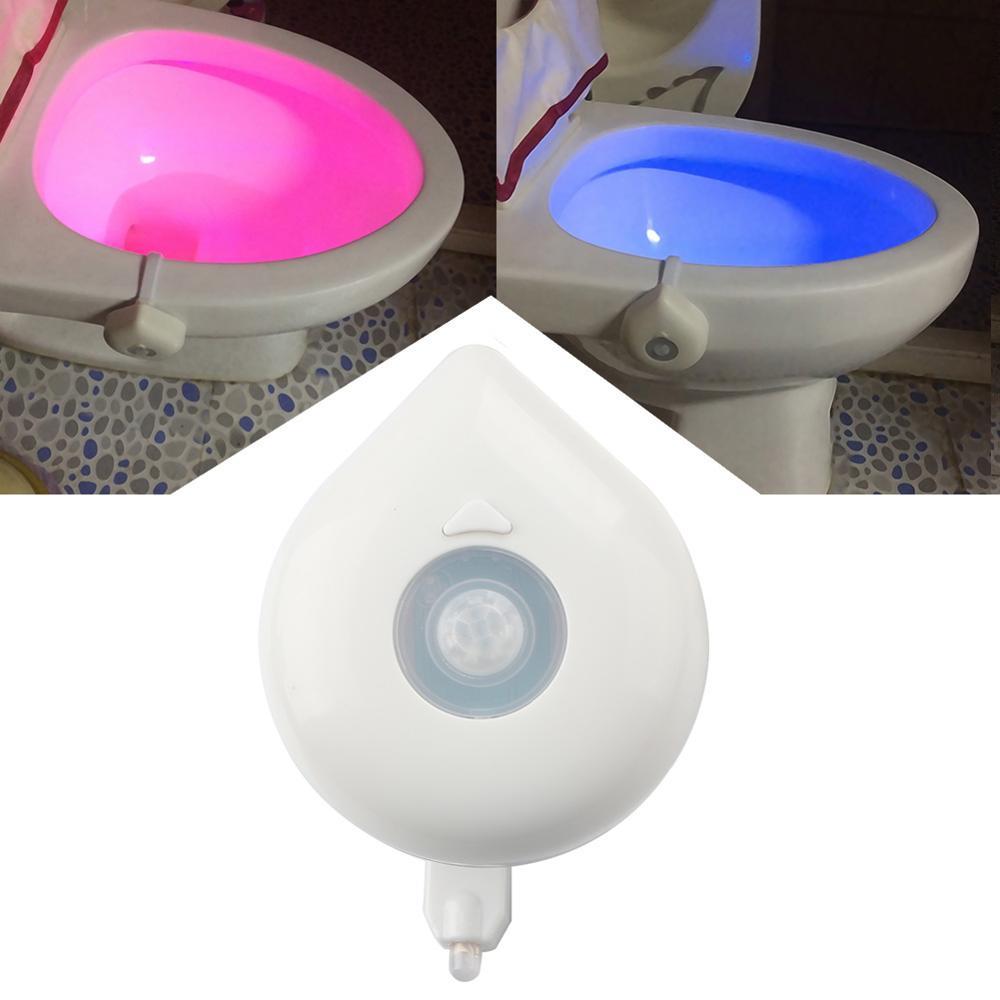 Luz LED nocturna inteligente para baño, luz de asiento con Sensor de movimiento PIR y recipiente resistente al agua, luces LED nocturnas de 8 colores para WC y WC