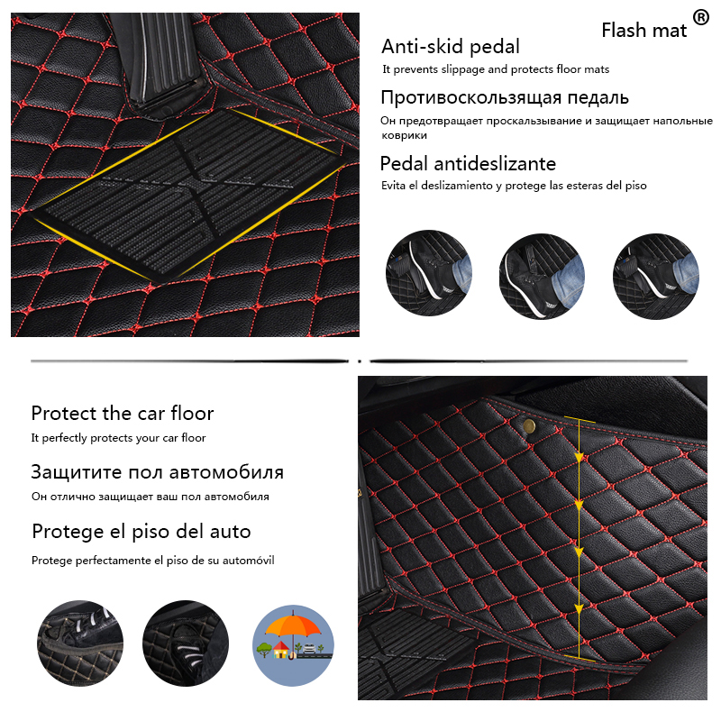 Image 2 - Flash mat leather car floor mats for Tesla Model S 2014 2015 2016 2017 2018 Custom foot Pads automobile carpet car covers-in Floor Mats from Automobiles & Motorcycles
