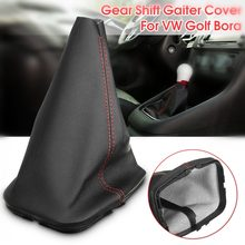 PU Leather Black Car Auto Gearshift Lever Gaiter Dust Cover Red Stitching For VW GOLF MK4 1997-2006 BORA Jetta 1998-2005(China)