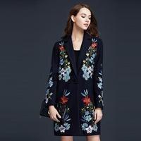 Casual Denim Dress New Fashion 2015 Autumn Women Floral Embroidery Long Sleeve Mid Calf Length Denim