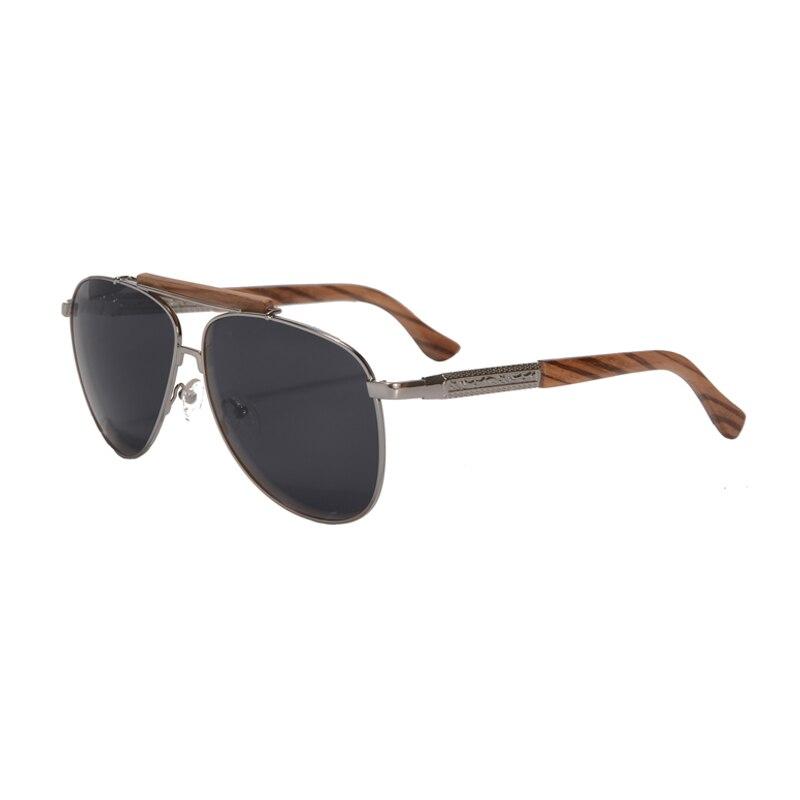 Солнцезащитные очки-авиаторы Для мужчин поляризованные очки, подходят для вождения, солнцезащитные очки с НАСТОЯЩИЙ ДЕРЕВЯННЫЙ руки унисекс UV400 защитные очки Oculos De Sol masculino 1565 - Цвет линз: grey lens