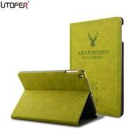 UTOPER Retro Deer Case For IPad Air 1 2 Case Sleep Wake Up Flip 3D Embossing