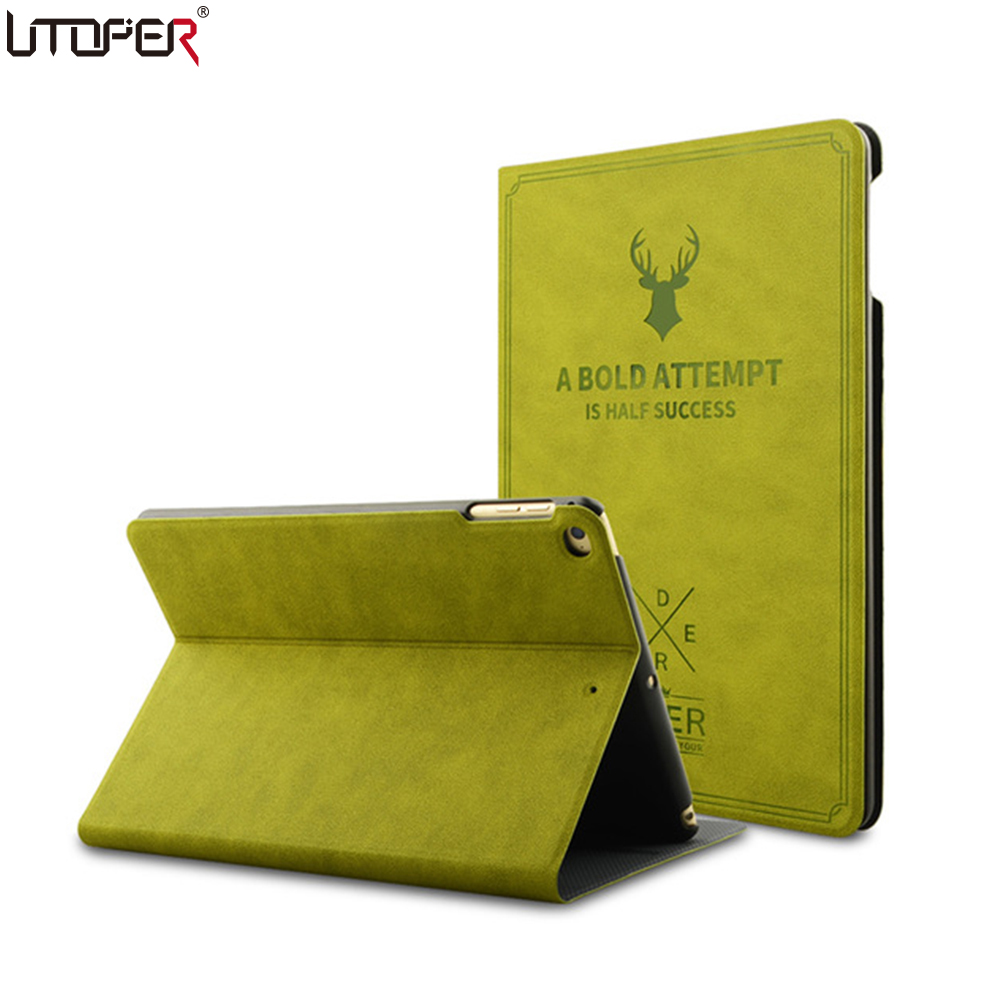 UTOPER Retro Deer Case For iPad Air 1 2 Case Sleep/Wake Up Flip 3D Embossing Leather Cover For iPad 5 6 Smart Stand Holder Folio case for ipad air 2 ipad 6 retro deer