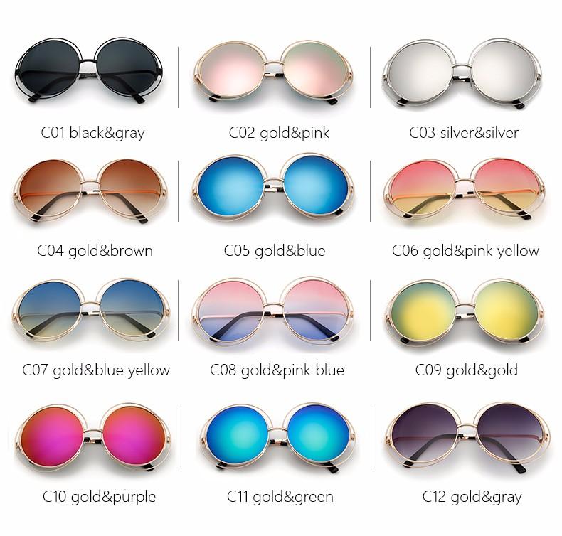 bb448982ae2 Oversized Round Sunglasses Fashion Women Large Size Big Retro Mirror Sun  Glasses Lady Female Vintage Brand Designer UV400