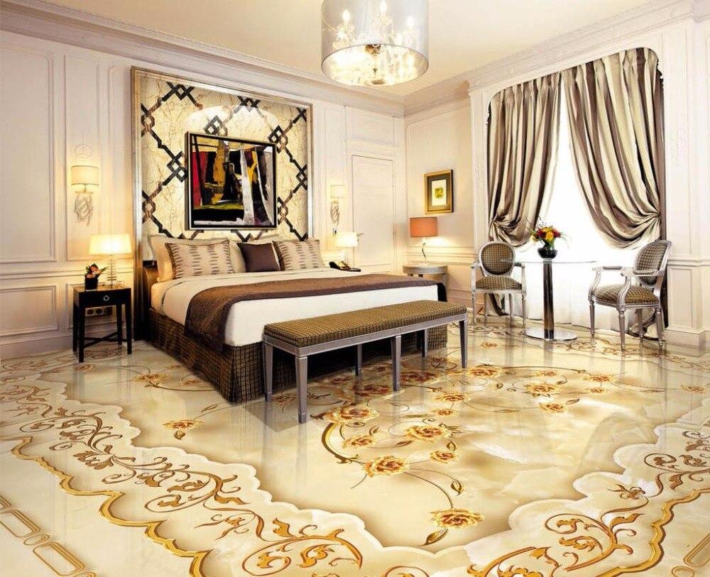 3d wallpaper waterproof floor 3d wallpaper European style gold rose marble relief 3D floor wall sticker customized 3d floor tiles for livingroom welcome song marble stone relief floor wallpaper