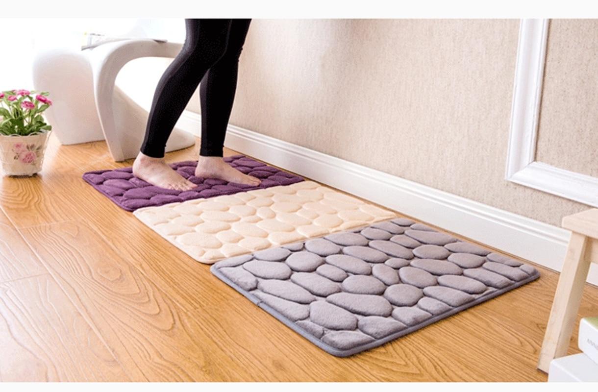 Floor mats super cheap - 3d Bath Rug Pebbles Natural Sbr Rubber Bath Mat Bottom Space Memory Cotton Rebound Mat Super