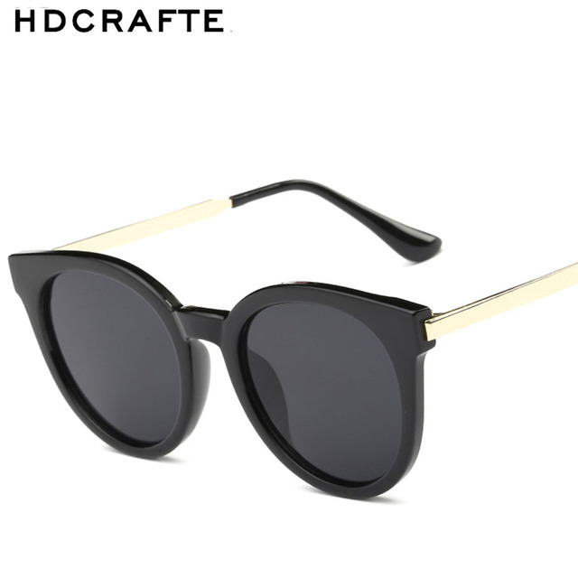 HDCRAFTER Brand Women Sunglasses PC Clear Frame Cat Eye Design Sunglasses Fashion Sea Decoration  Eyewear