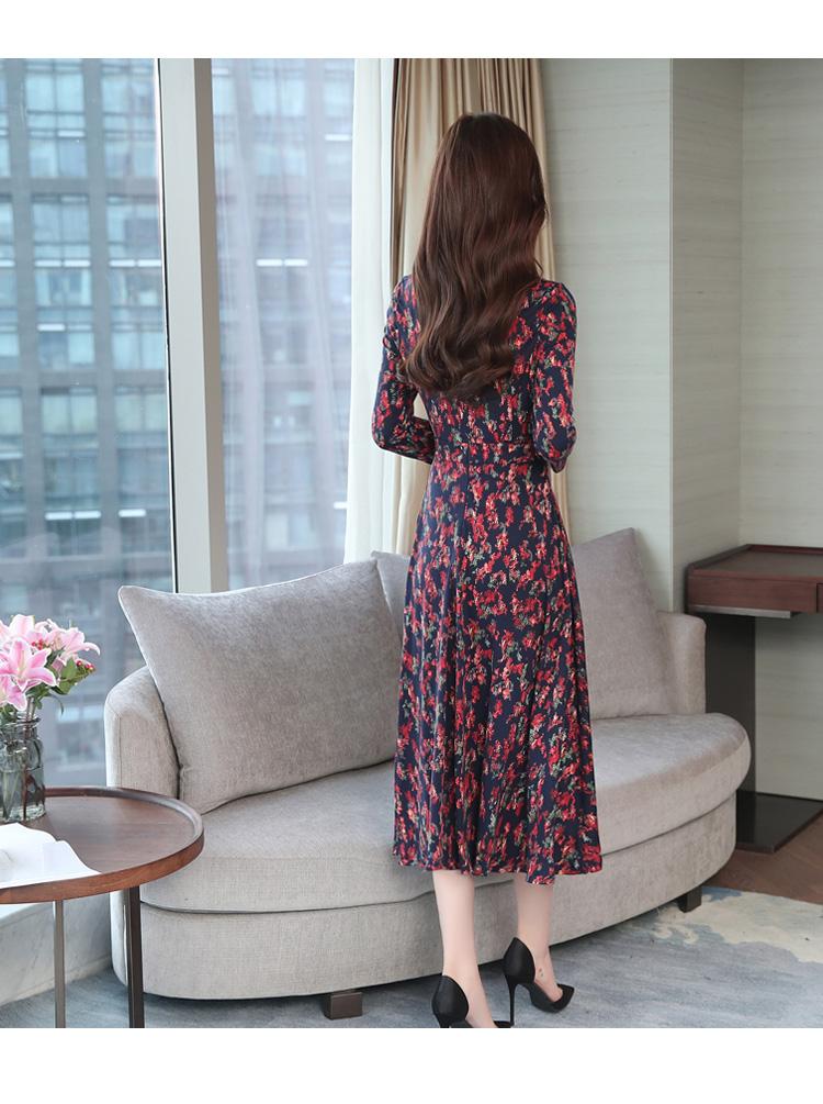 Autumn Winter New 3XL Plus Size Vintage Midi Dresses 2018 Women Elegant Bodycon Floral Dress Party Long Sleeve Runway Vestidos 32