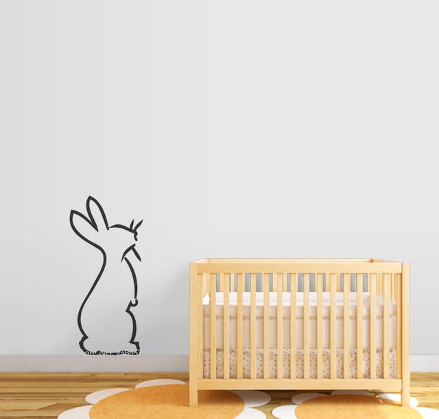 rabbit vinyl decals hopping bunny wall decal bedroom removable decor