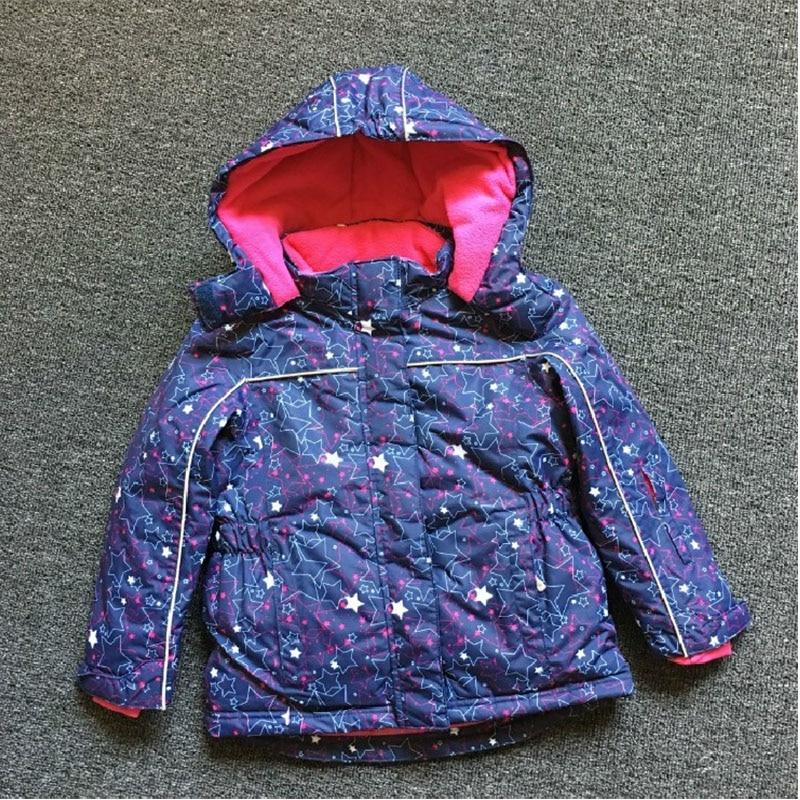 ФОТО Girls winter jacket waterproof windproof cotton-padded velvet kids outerwear coat hooded warm children girl sporty ski jacket
