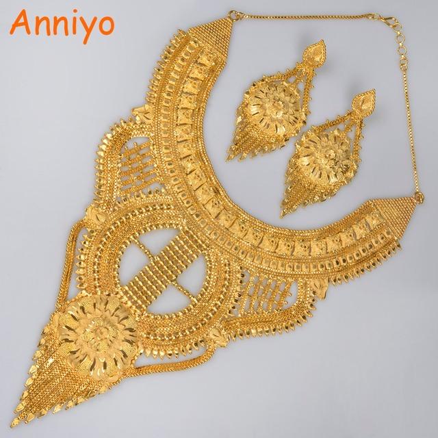 Anniyo Women Gold Color Jewelry Set Bridesmaid Earring Necklace Sets African/Ethiopian/Arab/Turkey/Eritrea Wedding Gift #014223
