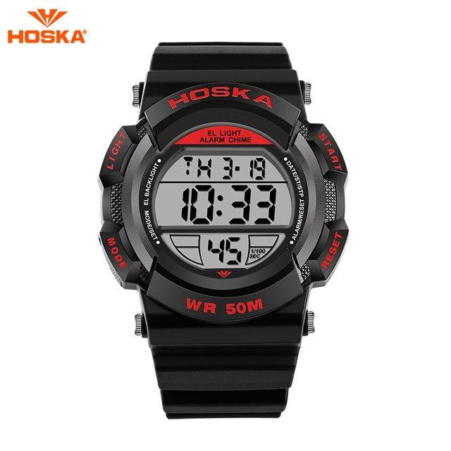 HOSKA мужские Часы Мода Дети Кварцевые часы Военно-Спортивный Камуфляж Цифровые Часы LED Аналоговый Часы Мужские Relojes hombre