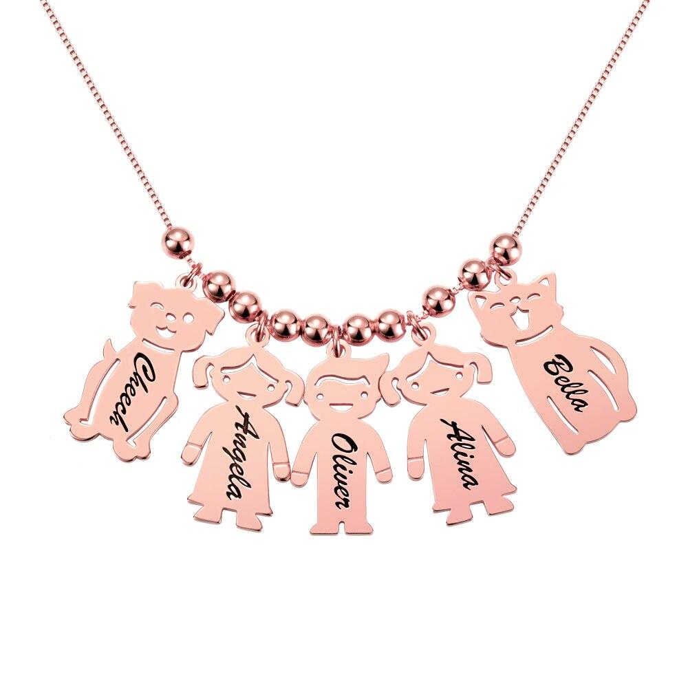 AILIN personnalisé gravé nom Date bébé garçon fille chien chat collier perles charme chaîne pour femmes enfant anniversaire famille cadeau - 6