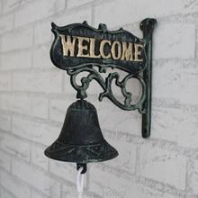 Vintage double faced finaning , door plate iron doorbell welcome hand bell