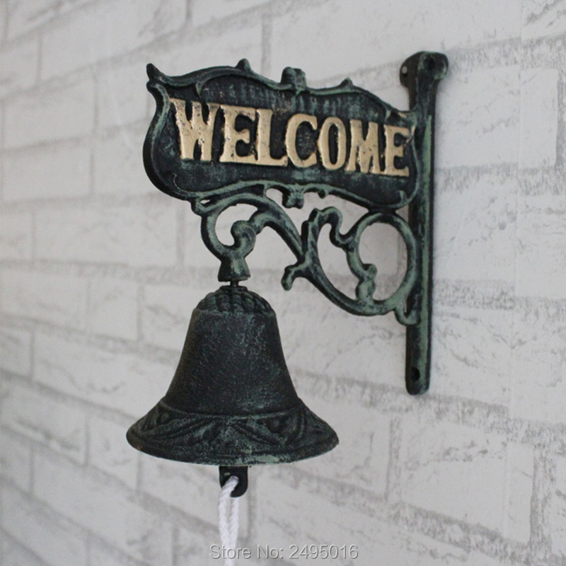Vintage double faced finaning , door plate iron doorbell welcome hand bell